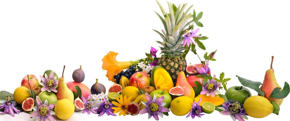 Exotenfrüchte mit weißem Hintergrund