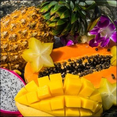 Tropenfrüchte im Sand
